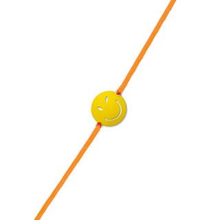 Bracelet cordon Smiley vermeil jaune et cordon orange Sympa