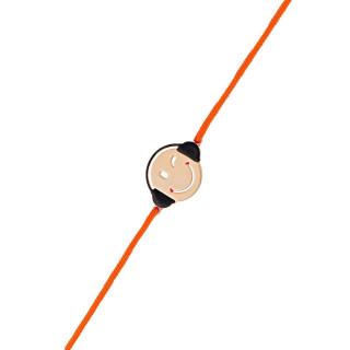 Bracelet cordon Smiley vermeil rose et cordon orange Mélomane