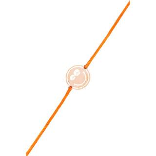 Bracelet cordon Smiley vermeil rose et cordon orange Peace & Love