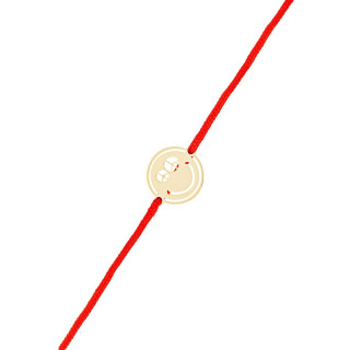 Bracelet cordon Smiley vermeil rose et cordon rouge Peace & Love