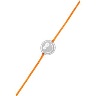 Bracelet cordon Smiley argent et cordon orange Peace & Love