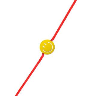 Bracelet cordon Smiley vermeil jaune et cordon rouge Grand Sourire