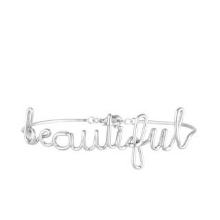 BEAUTIFUL Bracelet jonc en fil lettering argenté à message