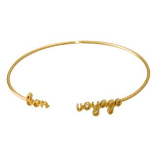 BON VOYAGE'' bracelet jonc en fil lettering doré à message