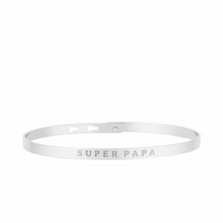 SUPER PAPA Jonc argenté bracelet à message