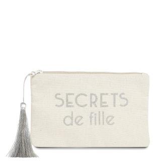Petite pochette à message SECRETS DE FILLES Beige et Argenté