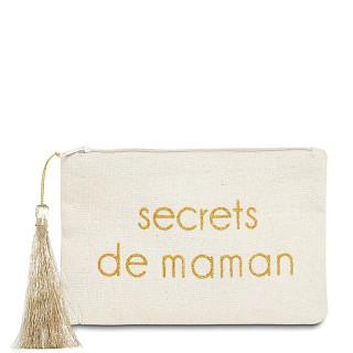 Petite pochette à message SECRETS DE MAMAN Beige et Doré