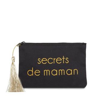 Petite pochette à message SECRETS DE MAMAN Noir et Doré