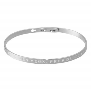 LOIN DES YEUX, PRES DU COEUR Jonc argenté bracelet à message