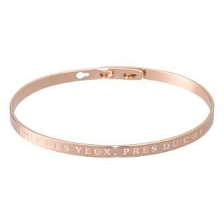 LOIN DES YEUX, PRES DU COEUR bracelet jonc rosé à message