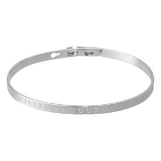 MEILLEURE NOUNOU DU MONDE bracelet jonc argenté à message