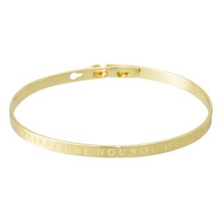 MEILLEURE NOUNOU DU MONDE Jonc doré bracelet à message