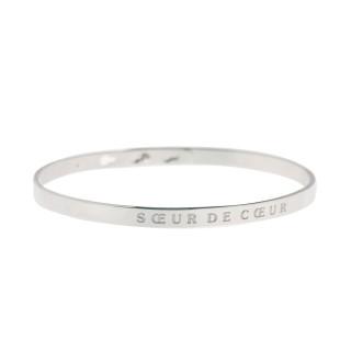 SOEUR DE COEUR Jonc argenté bracelet à message