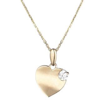 Pendentif coeur Or Jaune et oxydes de zirconium  Séduisant + chaîne argent doré offerte