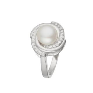 Bague argent, perle de culture Blanche et oxydes de zirconium Perle du soir