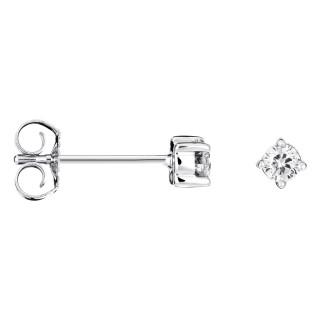 Boucles d'oreilles Or Blanc et Diamants 0,10 carat LONELY DIAMOND