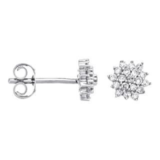 Boucles d'Oreilles Or Blanc et Diamants 0,2 carat BEAUTÉ MAJESTUEUSE
