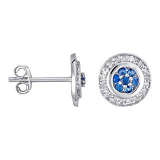 Boucles d'oreilles Or Blanc, Diamants 0,1 carat et Saphir 0,25 carat BOUCLIER
