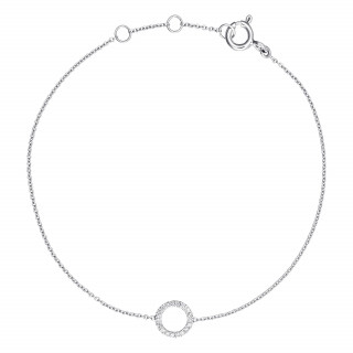 Bracelet chaine Or Blanc et Diamants 0,06 carat BULLE DE DIAMANTS