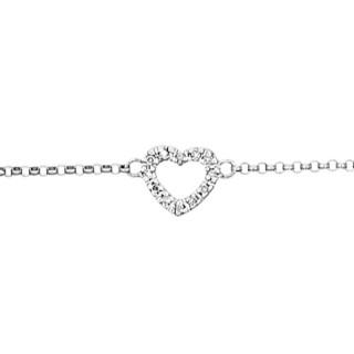 Bracelet Or Blanc et Diamants 0,04 carat  MINI COEUR