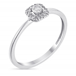 Solitaire Or Blanc, Diamants 0,05 carat et Topaze 0,32 carat CARRÉ TOPAZIEN