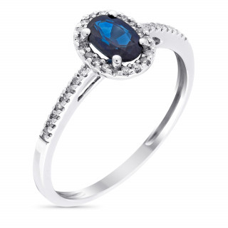 Solitaire Or Blanc, Diamants 0,1 carat et Saphir 0,74 carat ROYAL BLUE