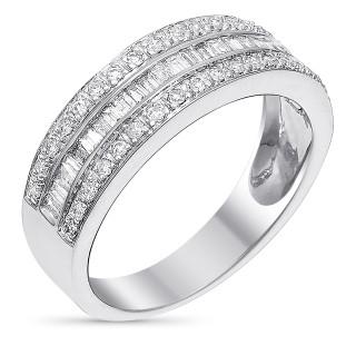 Bague Or Blanc et Diamants 0,5 carat KISS BAGUETTE