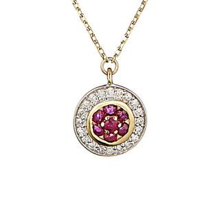 Collier Or Jaune, Diamants 0,07 carat et Rubis 0,14 carat BOUCLIER