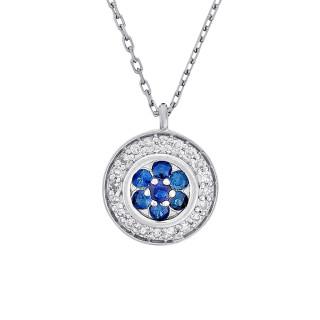 Collier Or Blanc, Diamants 0,07 carat et Saphir 0,18 carat BOUCLIER