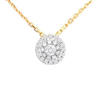 Pendentif Or Jaune et Diamants 0,12 carat MON BRILLANT + chaîne vermeil offerte