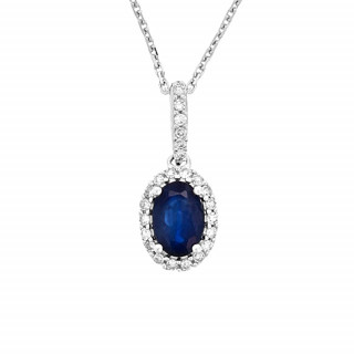 Pendentif Or Blanc, Diamants 0,09 carat et Saphir 0,6 carat COURTOISIE + chaîne argent offerte