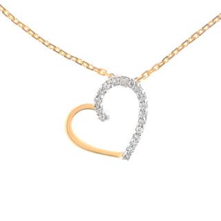 Pendentif Or Jaune et Diamants 0,05 carat COEUR PRÉCIEUX