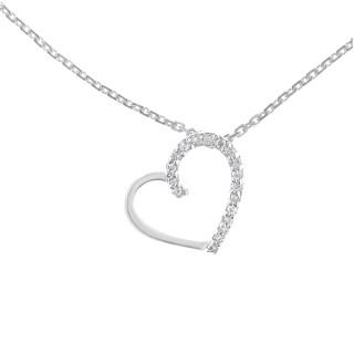 Pendentif Or Blanc et Diamants 0,05 carat COEUR PRÉCIEUX