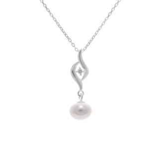 Pendentif argent, oxyde de zirconium et perle de culture Blanche Cléopatre + chaîne argent offerte