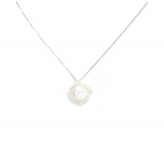 Pendentif argent, oxydes de zirconium et perle de culture Blanche Hypnotica + chaîne argent offerte