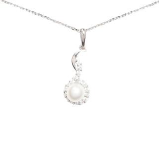 Pendentif Or Blanc, perle de culture blanche et oxydes de zirconium  Voilé + chaîne argent offerte