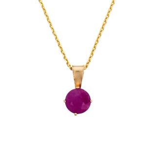 Pendentif Or Jaune et Rubis 0,74 carats Puce + chaîne argent doré offerte