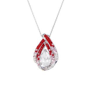 Pendentif laiton Argenté orné de cristaux Rouge Diva + chaîne argent offerte