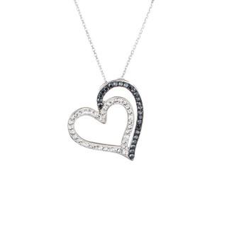 Pendentif laiton Argenté orné de cristaux Noir et Blanc 2 Hearts + chaîne argent offerte