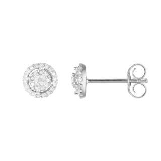 Boucles d'oreilles Or Blanc et Diamants 0,2 carat BABY DOLL
