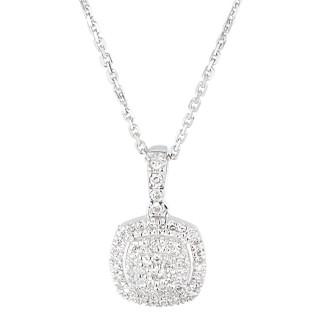 Pendentif Or Blanc et Diamants 0,15 carat THE ONE + chaîne argent offerte