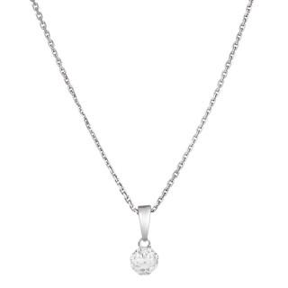 Pendentif Or Blanc et Diamants 0,06 carat IDYLLE + chaîne argent offerte