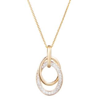 Pendentif Or Jaune et Diamants 0,18 carat DOUBLE JEU + chaîne vermeil offerte
