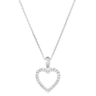 Pendentif Or Blanc et Diamants 0,13 carat ÉLUE DE TON COEUR + chaîne argent offerte