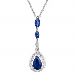 Pendentif Or Blanc, Diamants 0,02 carat et Saphirs 0,97 carat ZANZIBAR + chaîne argent offerte