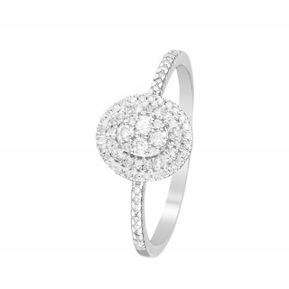 Bague Or Blanc et Diamants 0,20 carat BEAUTY QUEEN
