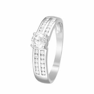 Bague Or Blanc, Diamants 0,24 carat et Topaze Blanche 0,52 carat KWANIA