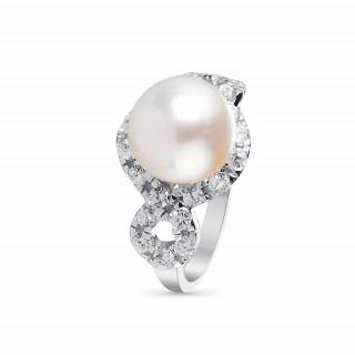 Bague en argent, oxydes de zirconium et perle de culture blanche Majestueuse
