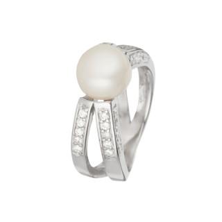 Bague en argent, oxydes de zirconium et perle de culture blanche Simplicité