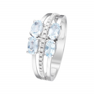 Bague Or Blanc, Diamants 0,1 carat et Topaze 1,40 carat CAYUGA